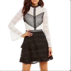 New Gianni Bini Lace Dress Liv black & white XS